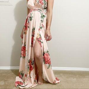 Showpo. Floral Tie Back Floral Maxi Printed Dress